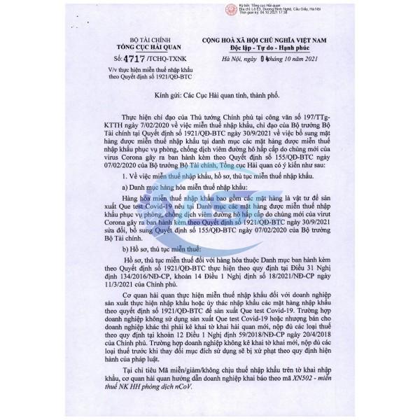 BỔ SUNG MẶT HÀNG ĐƯỢC MIỄN THUẾ NK: Vật tư sản xuất Que test Covid-19