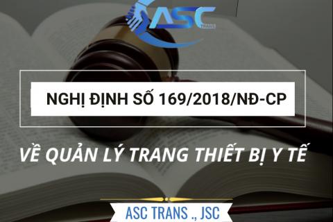 NGHỊ ĐỊNH 169/2018 - VỀ QUẢN LÝ TRANG THIẾT BỊ Y TẾ