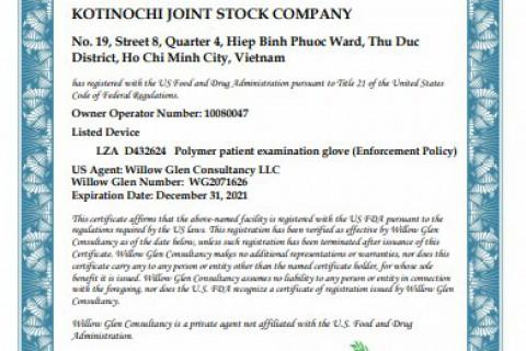 CHỨNG NHẬN FDA510K CHO GĂNG TAY Y TẾ