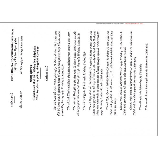 NGHỊ QUYẾT 106/NQ-CP VỀ CHÍNH SÁCH THUẾ Đ/V HÀNG HÓA NHẬP KHẨU ĐỂ TÀI TRỢ PHỤC VỤ PHÒNG, CHỐNG DỊCH COVID 19