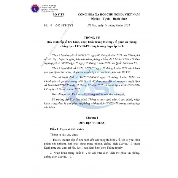 TRANG THIẾT BỊ Y TẾ PHÒNG CHỐNG COVID 19 ƯU TIÊN CẤP NHANH SỐ LƯU HÀNH